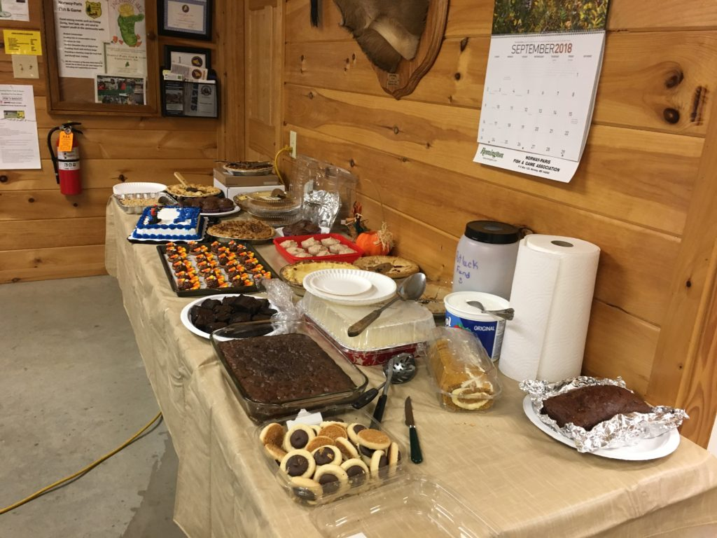Desserts at monthly meeting